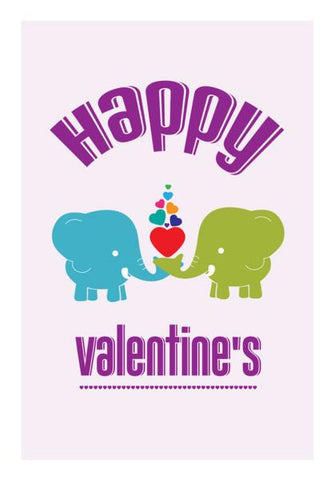 PosterGully Specials, Valentine's celebration with blue and green elephant  Wall Art | Artist : Designerchennai, - PosterGully