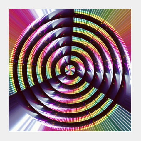 Abstract Concentric Circles Techno Motion Digital Science Background  Square Art Prints PosterGully Specials