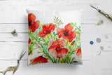 Elegant Red Poppy Flowers Floral Garden Design Cushion Covers | Artist : Seema Hooda