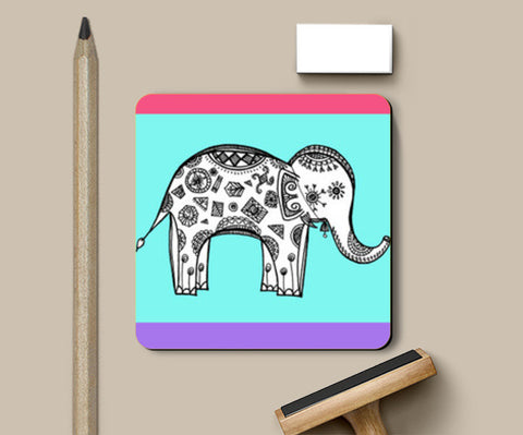 Colourful Elephant Patterns Coasters | Artist : Amulya Jayapal