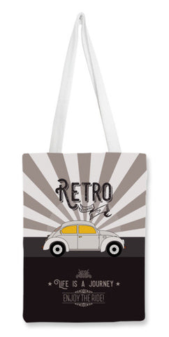 Retro vintage car on gray Tote Bags | Artist : Designerchennai