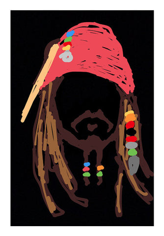 Jack Sparrow Pirates Of The Caribbean Minimal Doodle Wall Art | Artist : Praband