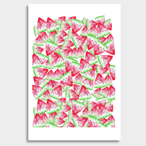 Watermelon Slices Watercolor Fruit Pattern Illustration Giant Poster | Artist : Seema Hooda