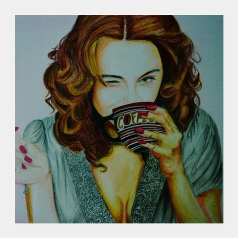 Square Art Prints, HappinessIs Coffee Square Art | Artist : Chahat Suri, - PosterGully