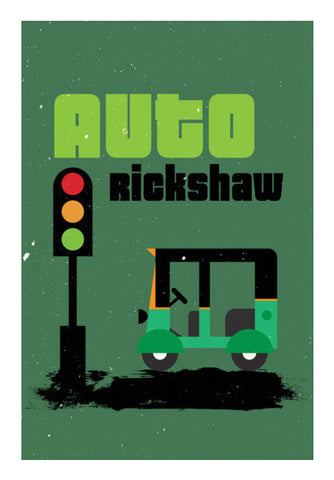 Auto Rickshaw With Green Art PosterGully Specials