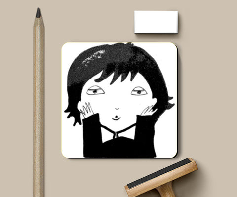 Black and White funny illustration Coasters | Artist : Vaishnavi Gajapure