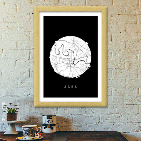 Agra Map, Black and White, India Map, World Map, Minimal Art, Poster, Wall Decor Premium Italian Wooden Frames | Artist : Shikhar Bhardwaj