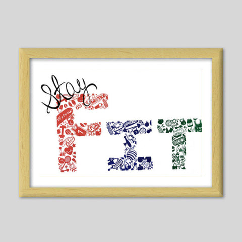 Stay Fit | Gym | Workout | Doodle Premium Italian Wooden Frames | Artist : Disha Kedia