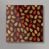 Seamless pattern with multicolored leaf on dark background Square Art Prints | Artist : Designerchennai