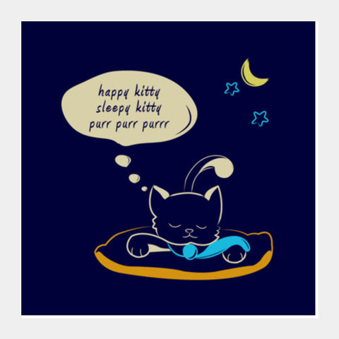Sleepy Kitty Square Art Prints | Artist : Vishali Bawa