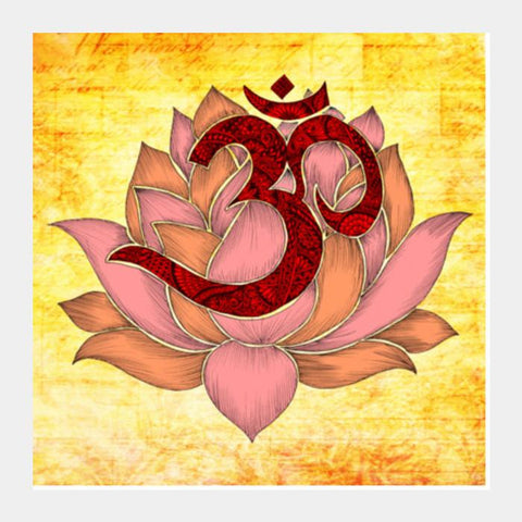 Aum Lotus Square Art Prints PosterGully Specials