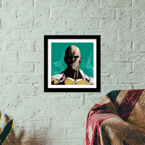 Premium Square Italian Wooden Frames, One Punch Man Premium Square Italian Wooden Frames | Artist : Shashanka Beshra, - PosterGully - 1