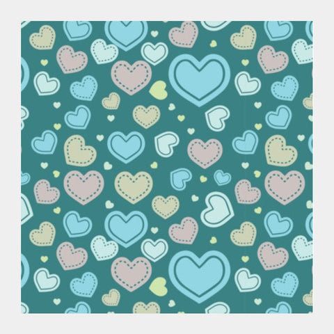 Seamless Multi Hearts Art Pattern Square Art Prints PosterGully Specials