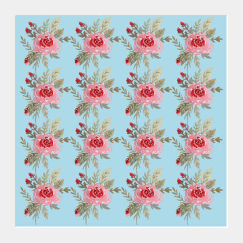 Mint Blue Pink Rose Floral Background Pattern  Square Art Prints PosterGully Specials