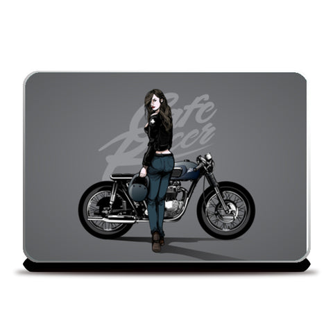Girl with motorcycle Laptop Skins | Artist : Creative DJ