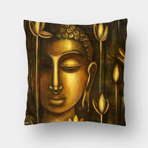 Cushion Covers, Golden Buddha Cushion Cover | Artist: Raji Chacko, - PosterGully