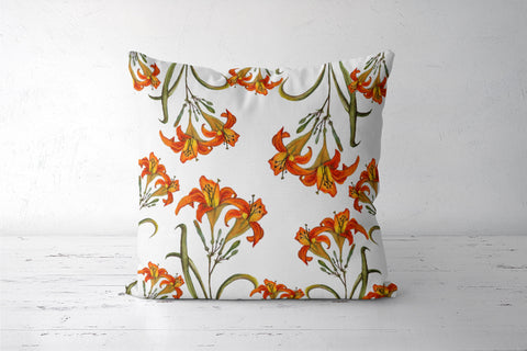Orange Tiger Lily Floral Cushion Cover I Artist: Seema Hooda
