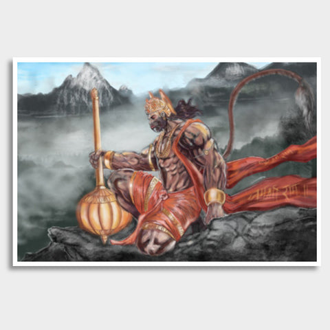 Lord Hanuman -The greatest superhero Giant Poster | Artist : Draw On Demand