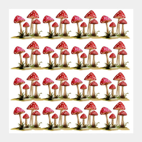 Square Art Prints, Red Mushrooms Toadstool Fungi Illustration Square Art Prints | Artist : Seema Hooda, - PosterGully