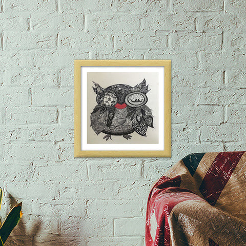 The Mystic Owl Premium Square Italian Wooden Frames | Artist : Quirky Designs by Priyanka Singhania
