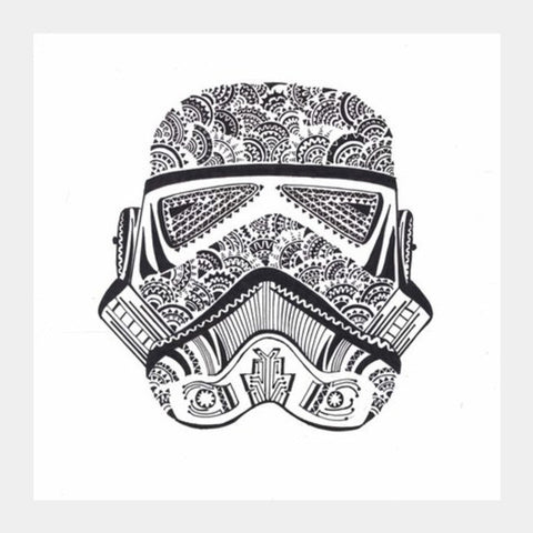 doodle,black and white,storm trooper Square Art Prints | Artist : All the randomness