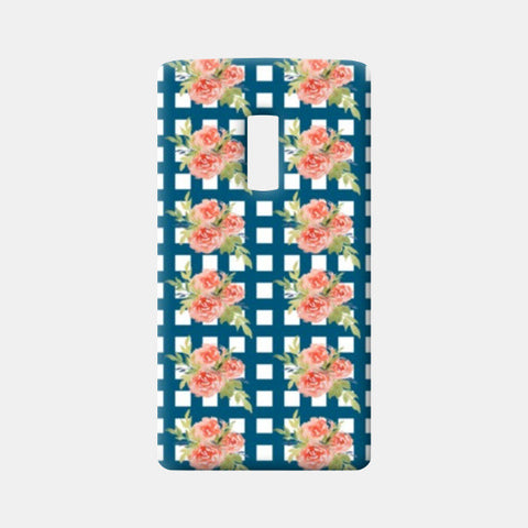 One Plus Two Cases, Blue Blue Checkered Floral Design Pattern One Plus Two Cases | Artist : Seema Hooda, - PosterGully