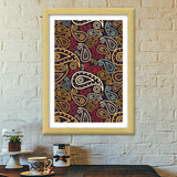 Abstract hand drawn floral illustration on multicolors Premium Italian Wooden Frames | Artist : Designerchennai