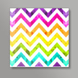 rainbow chevrons Square Metal Prints | Artist : Fariya Arts