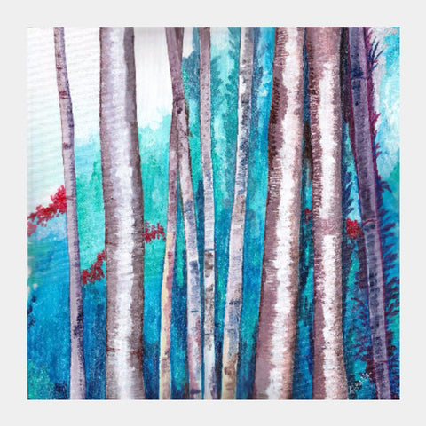 Square Art Prints, Blue Bamboos Square Art | Artist: Alpana Lele, - PosterGully