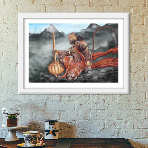 Lord Hanuman -The greatest superhero Premium Italian Wooden Frames | Artist : Draw On Demand