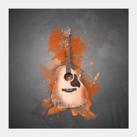 Guitar Splash – Orange Square Art Prints | Artist : Darshan Gajara's Artwork