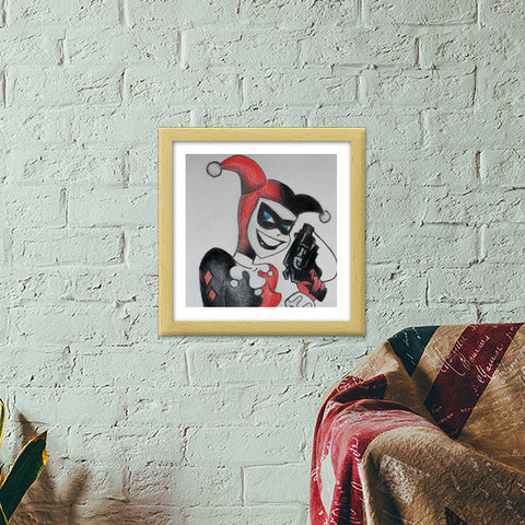 Harley Quinn Colored Pencil Premium Square Italian Wooden Frames | Artist : Ajay Varma