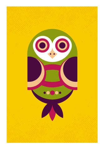 Unique geometric owl on yellow Wall Art | Artist : Designerchennai