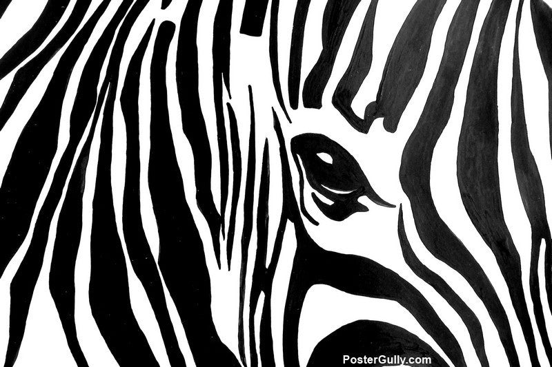 Wall art black white zebra artwork artist sunanda puneet postergully