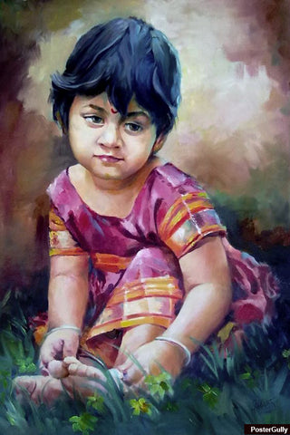 Brand New Designs, Sweet Girl Painting #2 Artwork | Artist: Raviraj Kumbhar, - PosterGully - 1