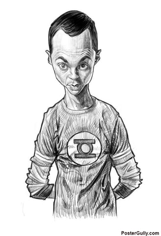 Brand New Designs, Sheldon Cooper Sketch Artwork | Artist: Sri Priyatham, - PosterGully - 1