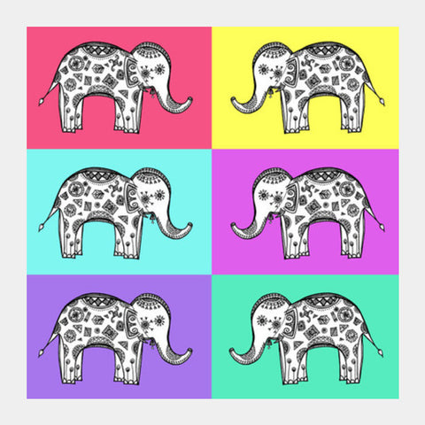 Colourful Elephant Patterns Square Art Prints PosterGully Specials
