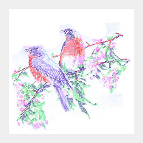 Square Art Prints, 2 Colorful Birds Square Art Prints | Artist : CK GANDHI, - PosterGully