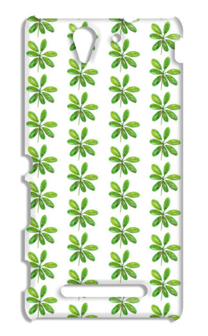 Elegant Painted Green Leaves Pattern  Sony Xperia C3 S55t Cases | Artist : Seema Hooda