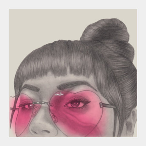 Betty With The Glasses Square Art Prints | Artist : Anniez Artwork
