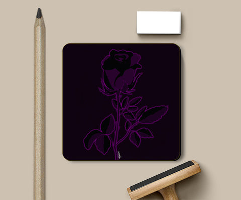 Rose with Neon Pink highlights Coasters | Artist : Anjuri Jain