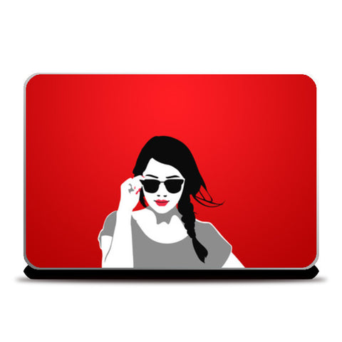 Laptop Skins, Girl in Red Vector Illustration Laptop Skins | Artist : Sukhmeet Singh, - PosterGully