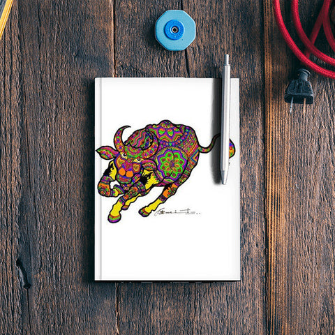 colored bull Notebook | Artist : amit kumar