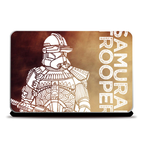 Samurai Trooper: Star Wars inspired original artwork, black, red, duotone, bold, bright, pop art, trendy graphic art, fan art, intricate, graphic poster, minimalist art, trending designs Laptop Skins | Artist : SREEJITH v