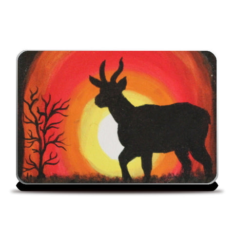 Sunset and Deer Laptop Skins | Artist : Swathy Suren
