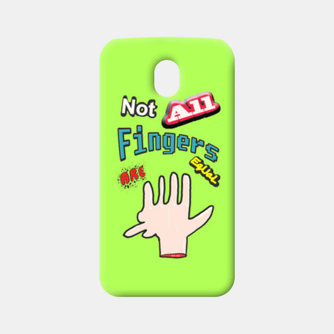 Not All Fingers Are Equal (Green Back) Moto G3 Cases | Artist : Nitin Kapoor