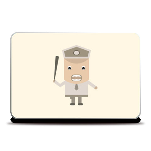 Cartoon policeman with stick Laptop Skins | Artist : Mani Selvam