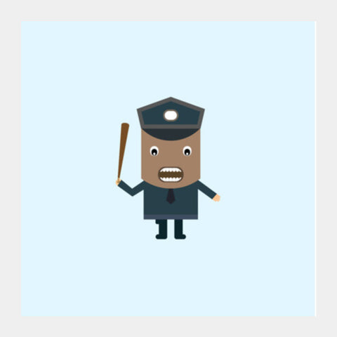 Cartoon of a strict policeman Square Art Prints | Artist : Mani Selvam