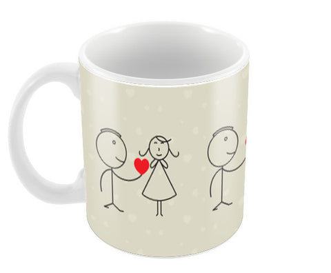 Girl And Boy Stick Figure Love Coffee Mugs | Artist : Designerchennai