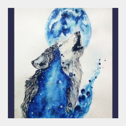 Square Art Prints, Blue Wolf Square Art Prints | Artist : Sukanya Chakraborty, - PosterGully